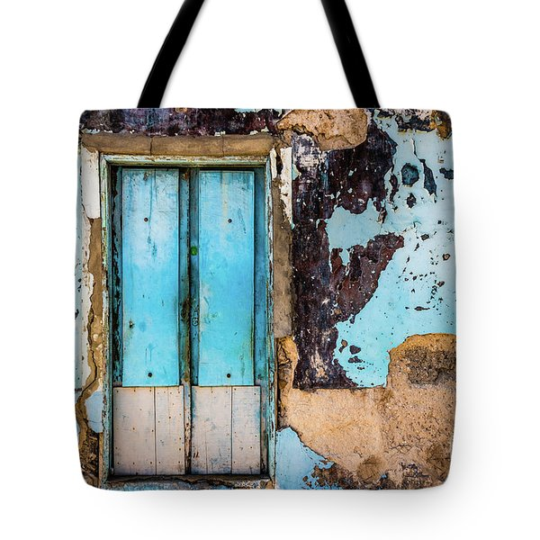 Blue Wall And Door Tote Bag