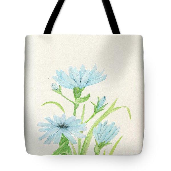 Blue Wildflowers Watercolor Tote Bag