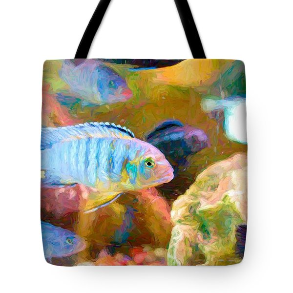 Tote Bag featuring the digital art Blue Zebra Lake Malawi Van Gogh by Don Northup