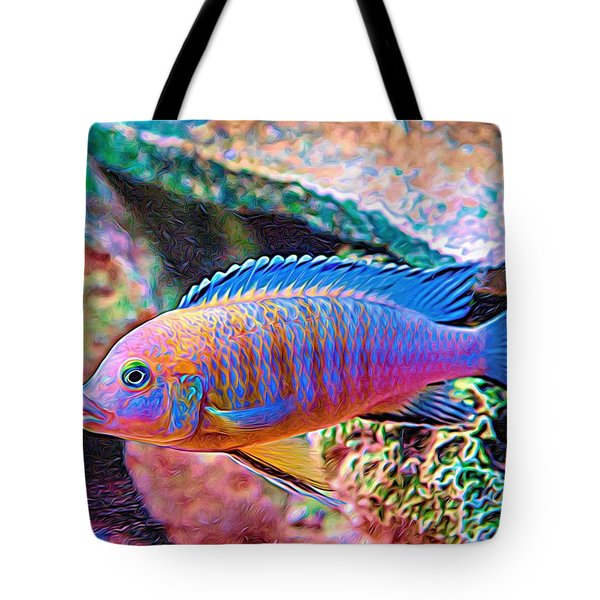 Tote Bag featuring the digital art Blue Zebra Limestone Expressionism by Don Northup