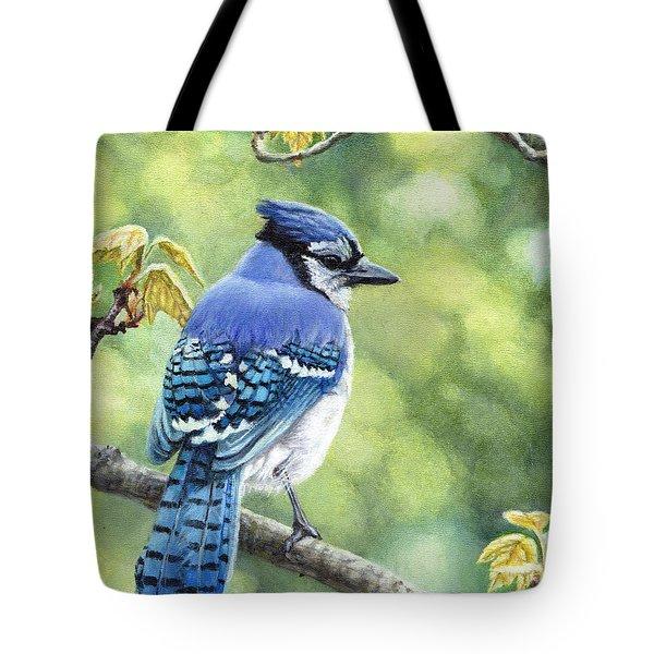 Blue Jay In Spring Tote Bag