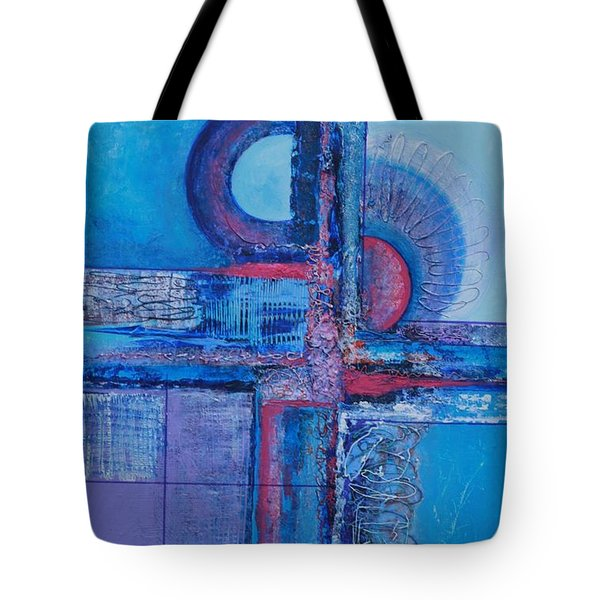 Blues With Purple Abstract Tote Bag