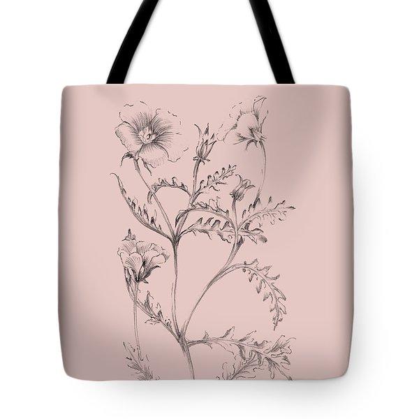 Blush Pink Flower Illustration I Tote Bag