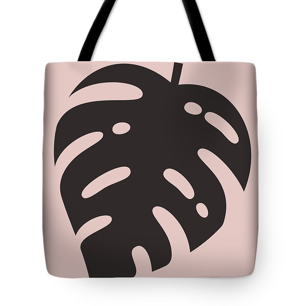 Blush Pink Monstera Leaf Tote Bag