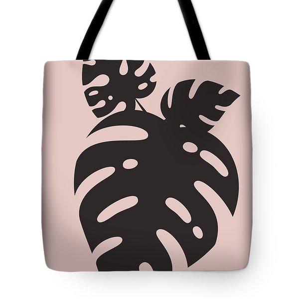 Blush Pink Monstera Leaves Tote Bag