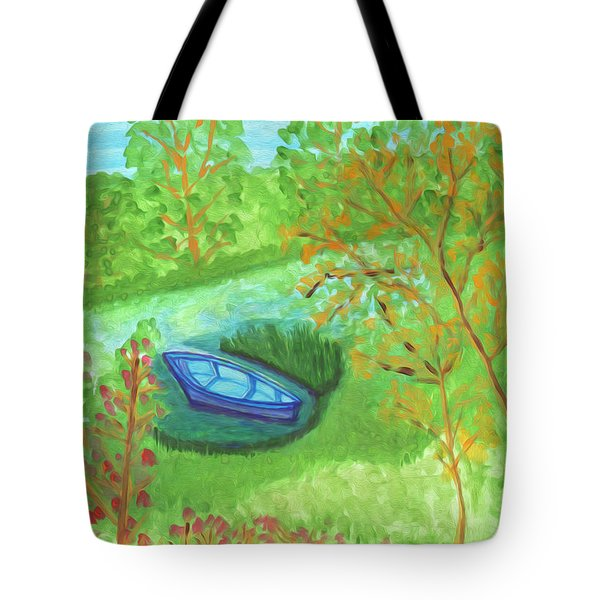 Tote Bag featuring the painting Boat In A Quiet Backwater by Dobrotsvet Art