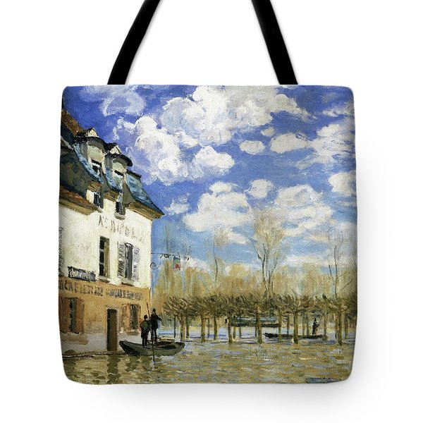 Boat In The Flood At Port Marly - Digital Remastered Edition Tote Bag