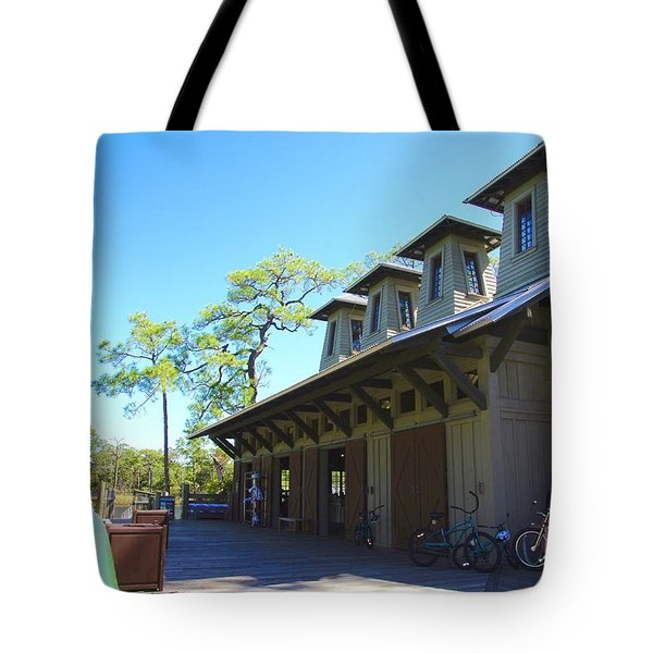 Boathouse In Watercolor Tote Bag