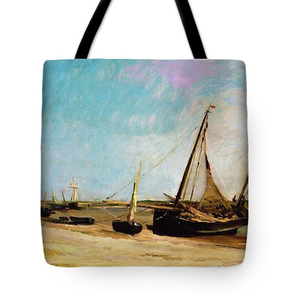 Boats On The Seacoast At Etaples - Digital Remastered Edition Tote Bag