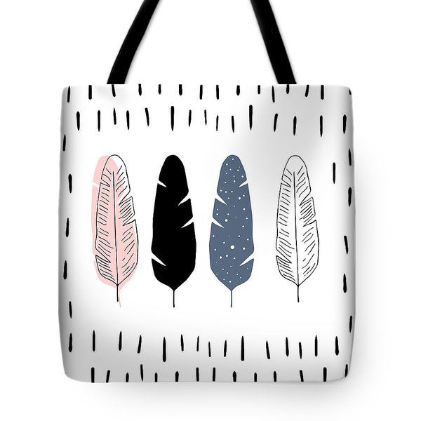 Boho Feathers - Boho Chic Ethnic Nursery Art Poster Print Tote Bag