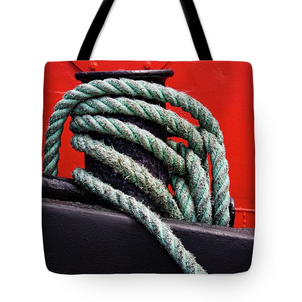 Bollard On A Bright Red Boat Tote Bag