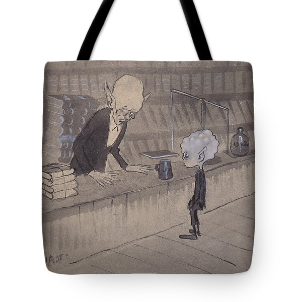 Tote Bag featuring the drawing Bookseller by Ivar Arosenius