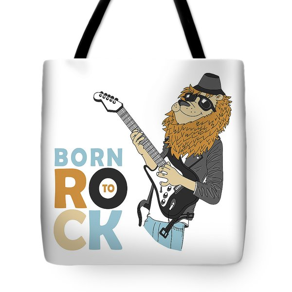 Born To Rock - Baby Room Nursery Art Poster Print Tote Bag