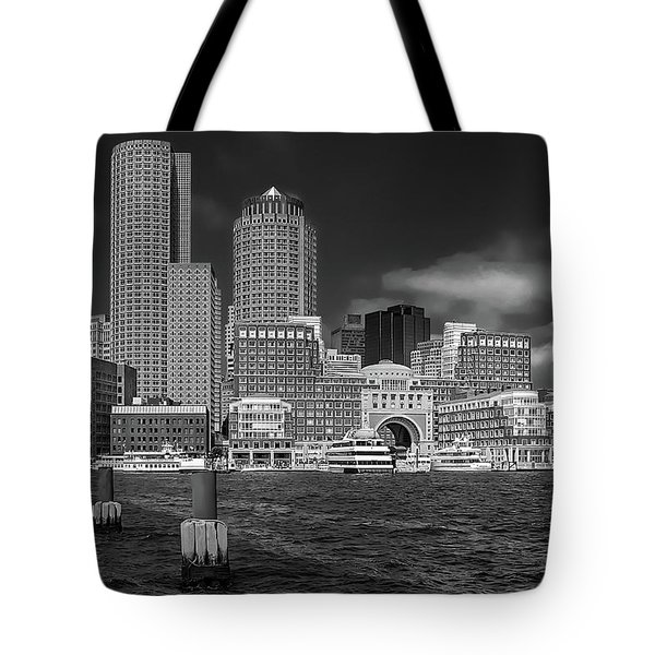 Boston Harbor Skyline Tote Bag