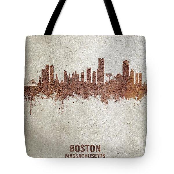 Boston Massachusetts Rust Skyline Tote Bag