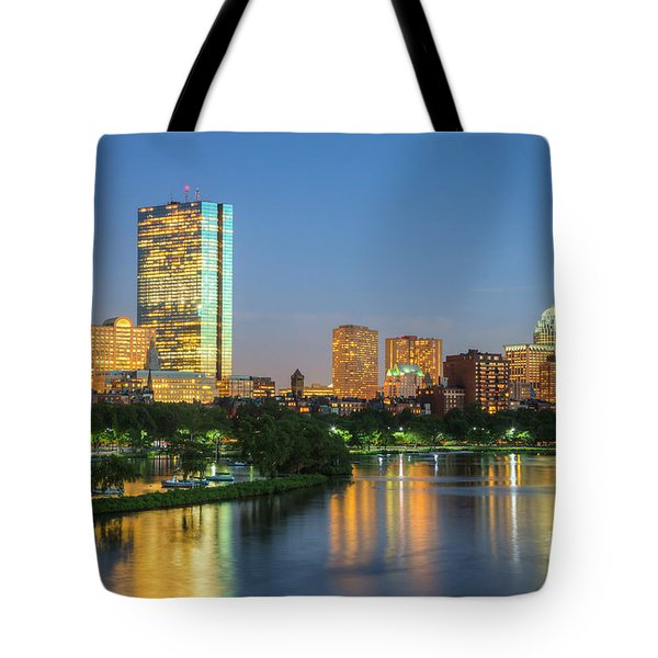 Boston Night Skyline II Tote Bag