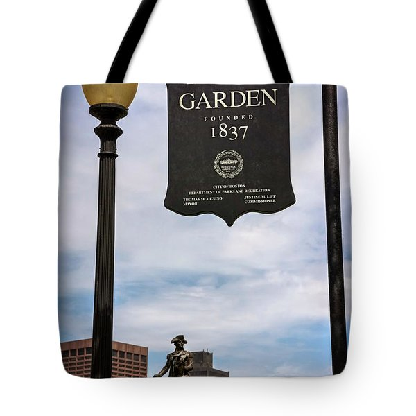 Boston Public Garden Sign Boston Massachusetts Tote Bag