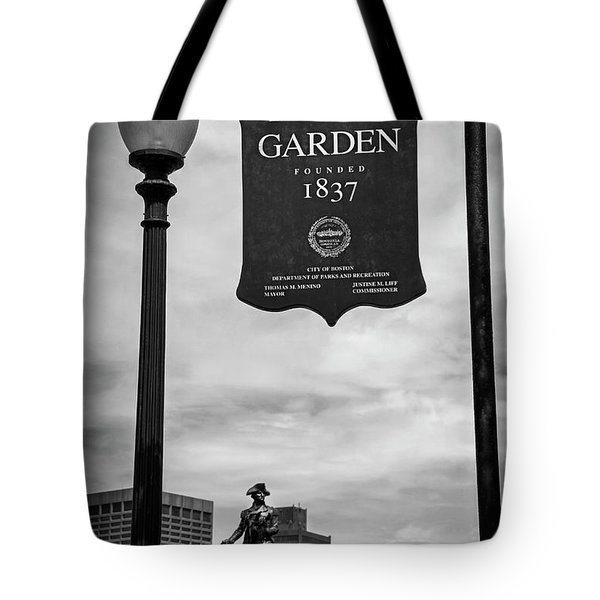 Boston Public Garden Sign Boston Massachusetts In Black And White Tote Bag