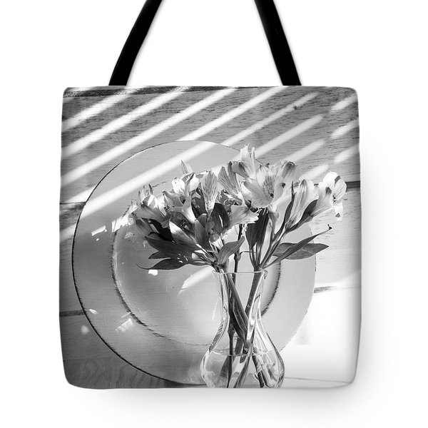 Bouquet And Plate-bw Tote Bag