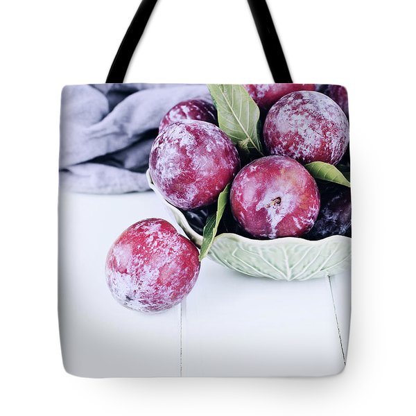 Bowl Of Fresh Plums Tote Bag