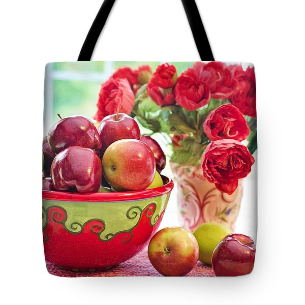 Bowl Of Red Apples Tote Bag