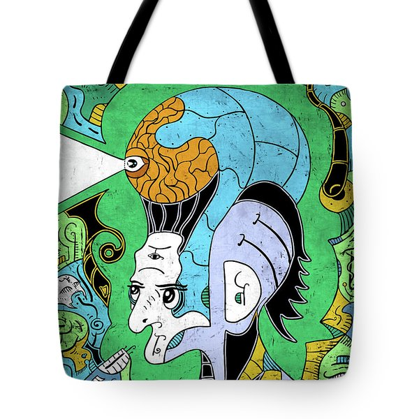 Tote Bag featuring the digital art Brain-man by Sotuland Art