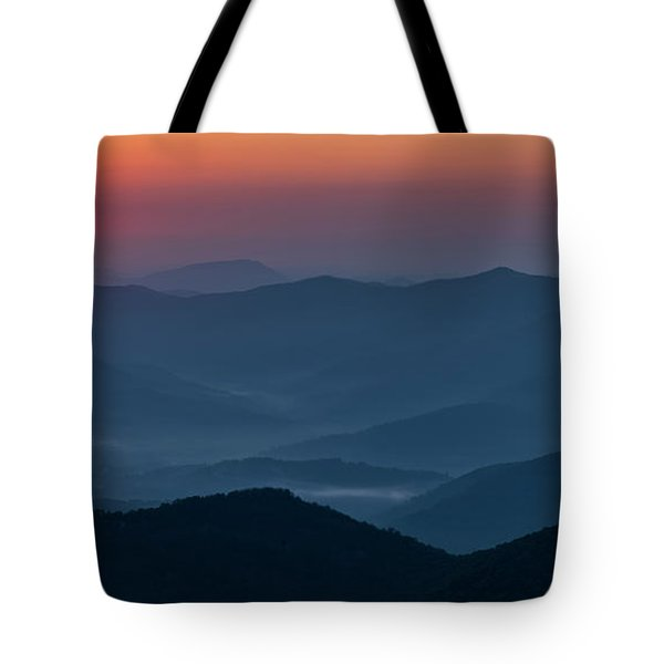 Tote Bag featuring the photograph Brasstop Bald Sunrise Panorama by Andy Crawford