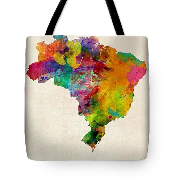 Brazil Watercolor Map Custom Heart Tote Bag
