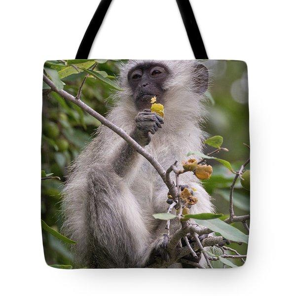 Breakfasting Monkey Tote Bag