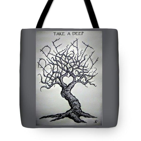 Breathe Love Tree - Blk/wht Tote Bag