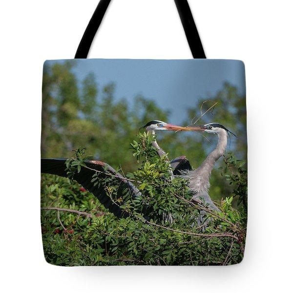 Breeding Herons Tote Bag
