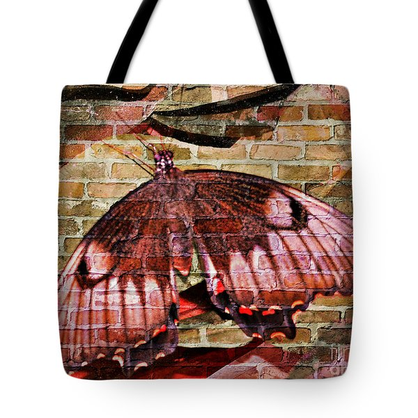 Tote Bag featuring the mixed media Brick In The Wall by Sabine ShintaraRose