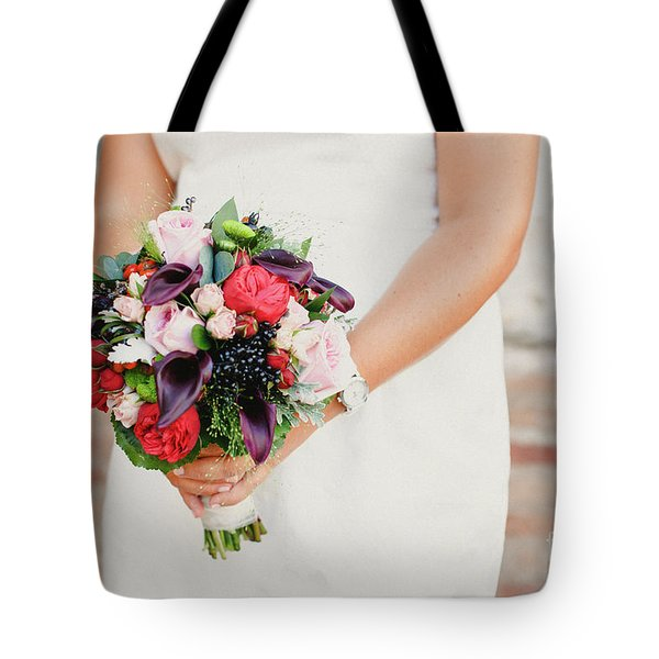 Bridal Bouquet Held By Her With Her Hands At Her Wedding Tote Bag