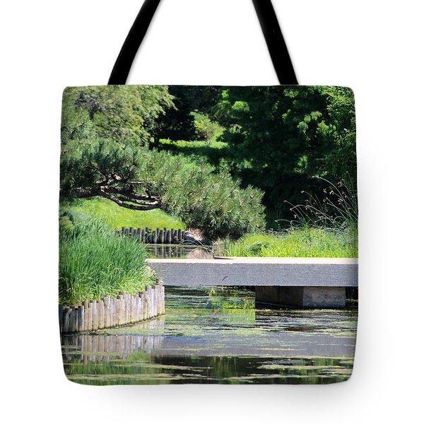 Bridge Over Pond In Japanese Garden Tote Bag