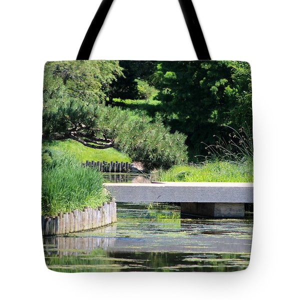 Bridge Over Pond In Japanese Garden Tote Bag