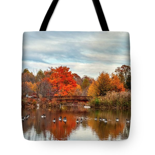 Tote Bag featuring the photograph Bridge Over The Pond by Mark Dodd