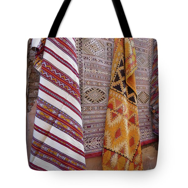 Bright Colored Patterns On Throw Rugs In The Medina Bazaar  Tote Bag