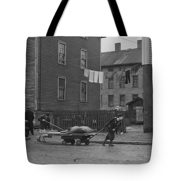 Bringing Home Some Salvaged Firewood In Slum Area In New Bedford  Massachusetts Tote Bag