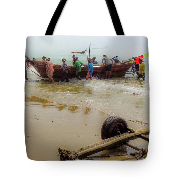 Tote Bag featuring the photograph Bringing In The Catch by Jeremy Holton
