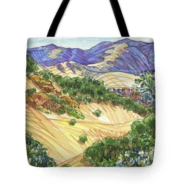Tote Bag featuring the painting Briones From Mount Diablo Foothills by Judith Kunzle