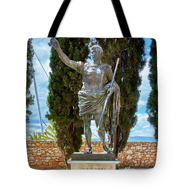 Tote Bag featuring the photograph Bronze Copy Of Augustus Of Prima Porta Sculpture In Spain by Eduardo Jose Accorinti