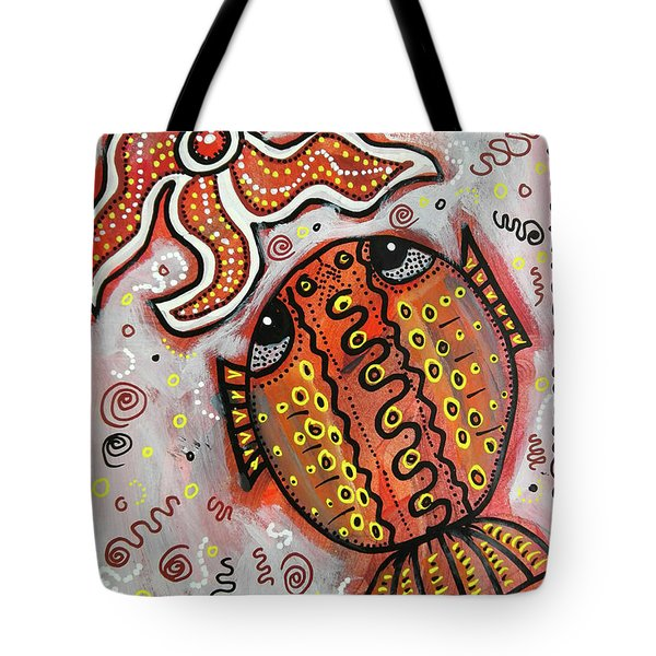 Brother Fish And Sister Starfish In Deep Conversation Tote Bag