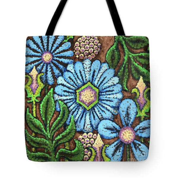 Brown And Blue Floral 1 Tote Bag