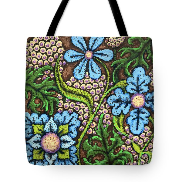 Brown And Blue Floral 2 Tote Bag