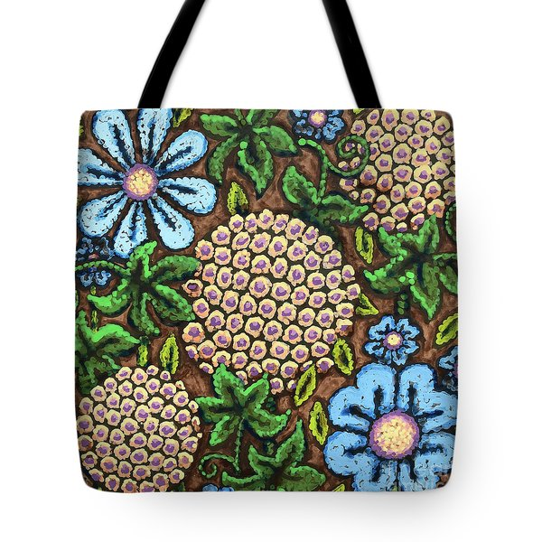 Brown And Blue Floral 3 Tote Bag
