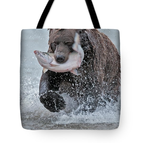 Brown Bear With Salmon Catch Tote Bag