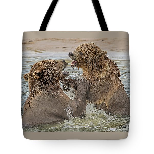 Brown Bears Fighting Tote Bag