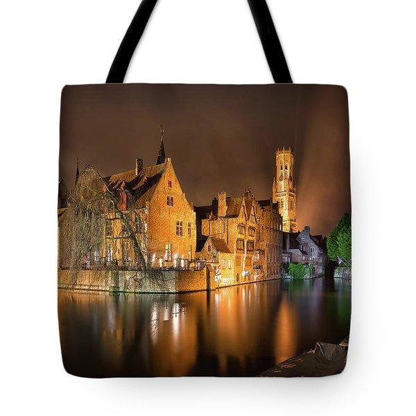 Brugge Belgium Belfry Night Tote Bag