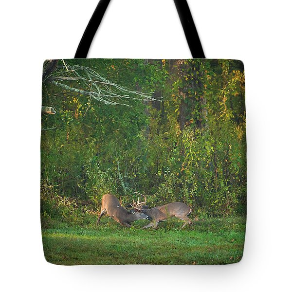 Tote Bag featuring the photograph Buck Battle by Jeff Phillippi