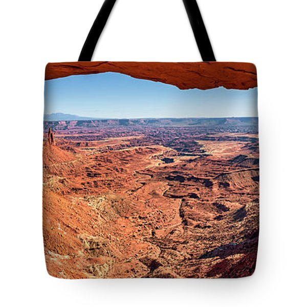 Tote Bag featuring the photograph Buck Canyon Through Mesa Arch by Andy Crawford